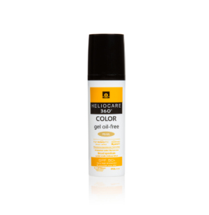 Heliocare 360 gel for full spectrum photoprotection, a fluid, pearl-coloured makeup