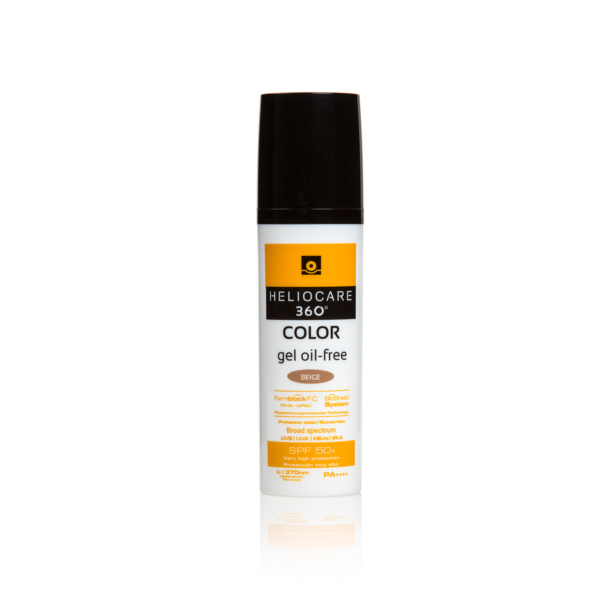 Heliocare 360 gel for full spectrum photoprotection, a fluid, beige-coloured makeup