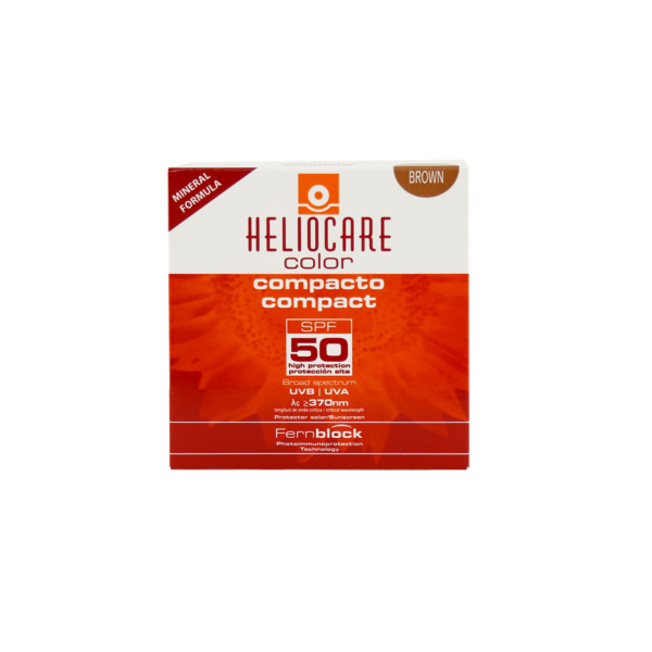 Heliocare compact, Oil free easy-to-apply SPF50+, brown facial make-up for combination & oily skin