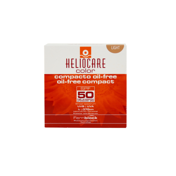 heliocare compact, an oil free easy-to-apply SPF50+, light facial make-up for combination & oily skin.